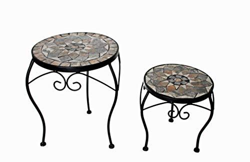 K&L Wall Art Mosaik Garten Tisch 2-er Set Vintage Beistelltisch 30cm und 24cm Durchmesser Balkon Gartentisch. Handgefertigte Steinmosaik Tischplatte Blumenhocker Stein Blumentreppe