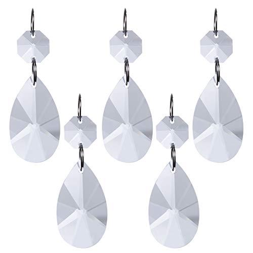 H&D kristallen prisma's om op te hangen, 38 mm, achthoekige parels, zilverkleurige cirkel, ideaal voor Kerstmis of bruiloft 5 pz Teardrop
