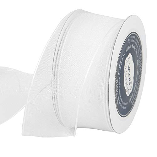 VATIN Christmas Ribbon Sheer Organza Wired Ribbon 1-1/2 inch 25 Yards (75Ft) -White,Perfect for Making Bows and Wreaths