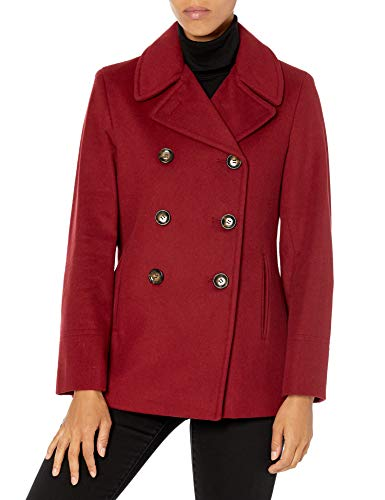Calvin Klein Petite Womens Double Breasted Peacoat, RED, 8P