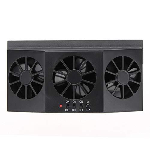 ZWwei Piezas de automóviles Ventana de Coche Ventilación de Aire Sistema de ventilación Fresco Ventilador Triple refrigerador ABS Solar Powered Herramientas y Equipos de automóviles (Color : Black)