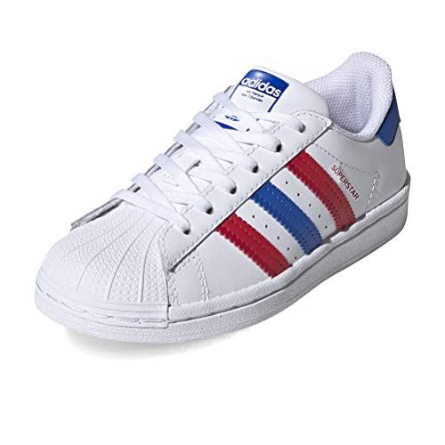adidas Superstar C, Scarpe da Ginnastica, Ftwr White/Blue/Scarlet, 31 EU