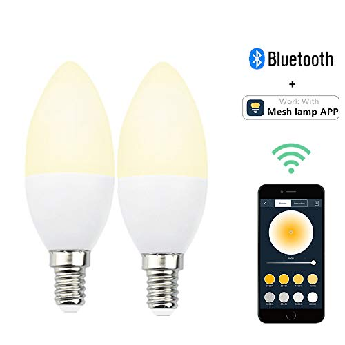 Bonlux E14 LED Bluetooth Lampe Dimmbar Smart Birne 5W 350lm Bettlampe AC 220V 2700K-6500K Leuchtmittel Steuerbar via Mesh Lamp App für Haus Dekoration Bar Party KTV Bühne (2 Stück)