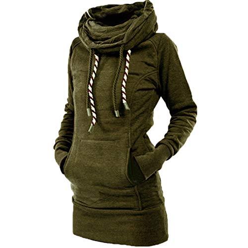 SLYZ Otoño E Invierno Mujer Nueva Estrella De Cinco Puntas con Capucha Cordón De Longitud Media Bolso De Mujer Suéter De Cadera Chaqueta De Mujer
