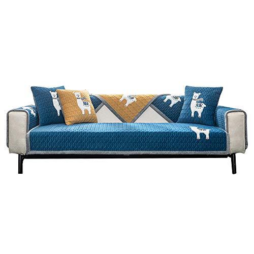 YUTJK Funda se Puede Empalmar de Sofá Funda para sofá Antideslizante Protector Cubierta de Muebles, Cojín de sofá cálido Bordado, Vendido por Pieza, Azul