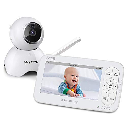 Baby Monitor 720P HD 5 Inch Video with Camera and Audio, Two-Way Talk,Night Vision,Temperature Monitor, Sound Detection, Five Lullabies, Range Up to 900ft for Baby Infant Kids Silver Monitors