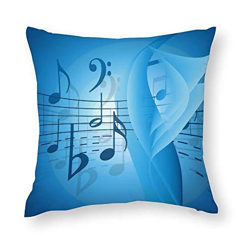 Music in Blue Throw Pillow Covers Case Cushion Pillowcase with Hidden Zipper Closure for Sofa Home Decor 20 x 20 Inches