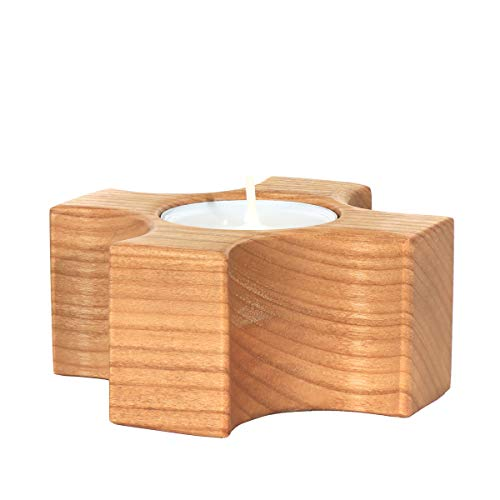 NKlaus set van 5 houten waxinelichthouders zoete kerk decoratie kaarsenhouder handgemaakt 36403