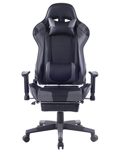 Kasorix Black High Back Video Gaming Chair with Retractable Footrest PU Leather Desk Computer Chair with Headrest and Lumbar Support