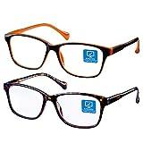 Blue Light Blocking Computer Glasses 2 Pack Anti Eye Eyestrain Unisex(Men/Women) Glasses with Spring Hinges UV Protection(Twilight and Orange)