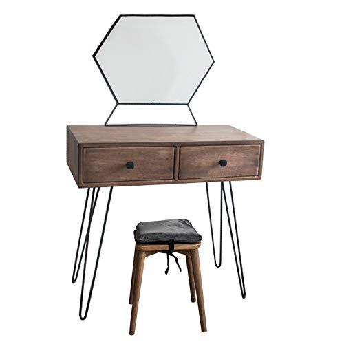 YXF Mode-Schminktisch Moderner Waschtisch mit Sechskantspiegel, Massivholz-Schminktisch mit Hocker 2 große Schubladen für Schlafzimmer Wohnzimmer, 80 x 40 x 78 cm