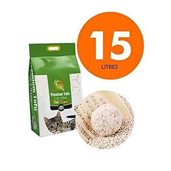 Tofu Litière pour chat biologique pour chat extra forte agglomération en 3 s, 6,50 kg 15L 100% biodégradable extra absorbante litière pour chaton sans odeur, originale,