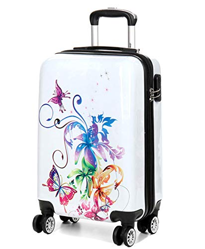 Print Trolley Bags Bowatex Motiv Koffer Handgepäck Schmetterling Blume M 57 cm