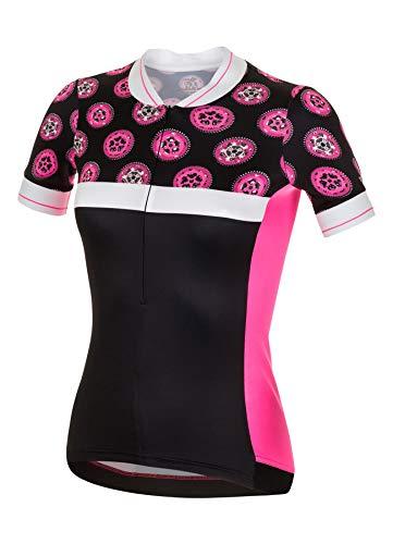 RH+ Preppy W, Fashion Lab Bike Jersey Donna, Black-Fluo Pink-White, L