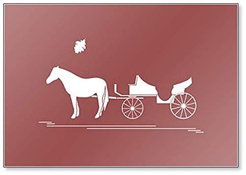 Illustratie met paard getrokken vervoer en eikenblad Illustratie Koelkast magneet