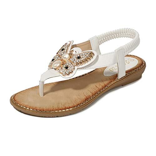 YWLINK Bohemia Mujer Bowknot Cristal Perla Sandalias Planas Chanclas De Playa Zapatos Flip Zapatos Romanos Moda Viajes Al Aire Libre Fiesta Zapatillas Antideslizante CóModo(Blanco,40EU)
