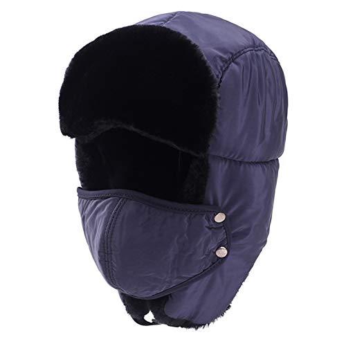 CNZXCO Gorro Ruso 2 PCS Ushanka, Sombrero de Invierno Cuello de Hombre Al Aire Libre cálido, Sombrero de algodón para Mujer, Viento en Bicicleta y Sombrero frío (Color : Purple, Size : L)