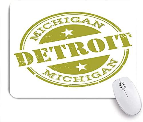 Alfombrilla de ratón para Juegos, Detroit Grunge Retro Stamp Print, Alfombrilla de Goma Antideslizante con Base de Goma para portátiles, Ordenadores, Alfombrillas de ratón, 25 cm x 20 cm