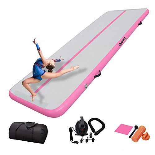 IBATMS Turnmatte Aufblasbar Track Tumbling Matte Gymnastikmatte 3/4/5/6m  mit Tragetasche & elektr. Luftpumpe   Yogamatte, Tumbling Matten, Trainingsmatte Sportmatte (3m, pink)