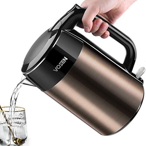 Electric Kettle VOSEN Electric Tea Kettle 1.7L Double Wall Stainless Steel, BPA Free Cool Touch Kettle with Auto Shut-Off & Boil Dry Protection, 1500W Very Fast Boiling
