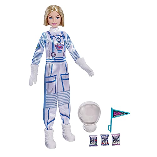 Barbie Astronauta, Muñeca con accesorios, traje y casco espacial (Mattel GTW30)