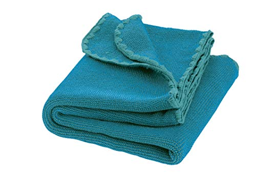 Disana Melange-Babydecke Wolle, Größe: 80x100 cm, lagoon/blau Melange, 80x100 cm