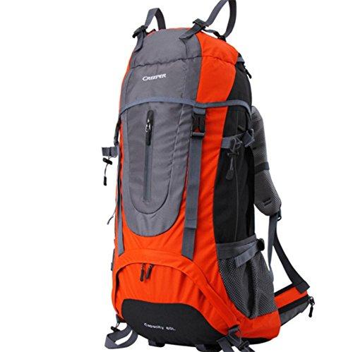 Plein air sac à dos randonnée sac de voyage bandoulière multifonctions imperméable à l'eau 65L hommes et de femmes envoyés habillage pluie , orange 65 liters