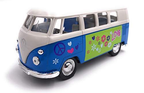 H-Customs Bulli Love Peace Käfer Modellauto Auto Lizenzprodukt 1:34-1:39 blau