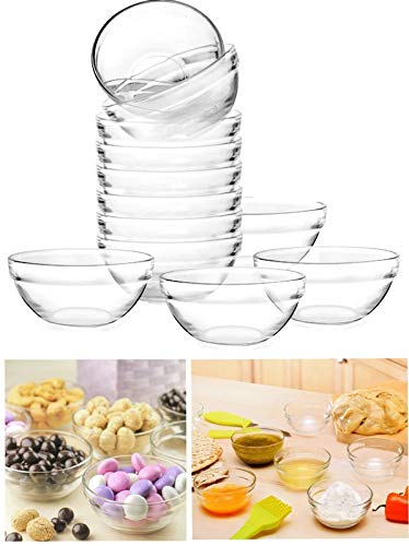 Mini 3.5 Inch Glass Bowls for Kitchen Prep, Dessert, Dips and Candy Dishes or Nut Bowls (Set of 12)