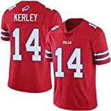 XYEQX Jeremy Kerley American Football Jersey # 14 Buffalo Bills, Rugby Jersey Top V-Neck Shirt Players Short Sleeve Gym Outdoor Sports Clothing-Red-XL