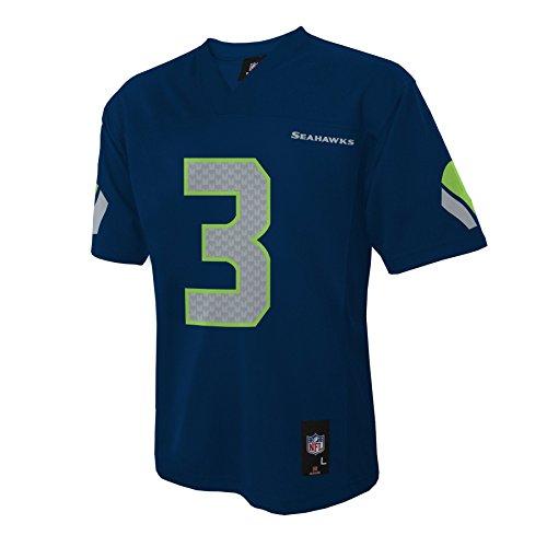 NFL Seattle Seahawks Russell Wilson Boys 4-7 Mid-Tier Jersey, Dk Navy, Small (4)