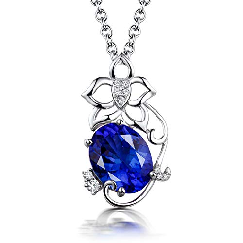 ButiRest Women's 750 Gold Necklace Flower Pendant 18 Carat White Gold with Four Claws Oval Cut 2.56 Carat Blue Tanzanite IF and 0.07 ct Diamond