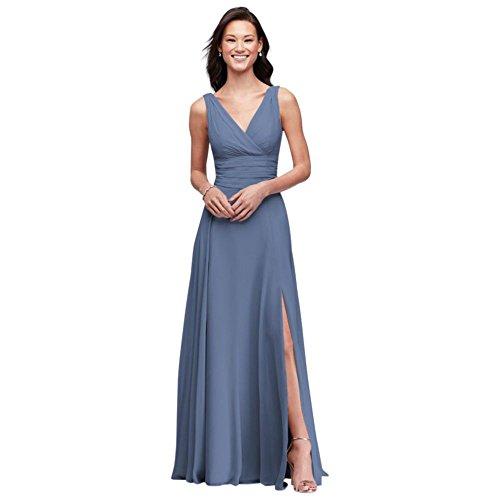 David's Bridal Surplice Tank Long Chiffon Bridesmaid Dress Style F19831, Steel Blue, 2