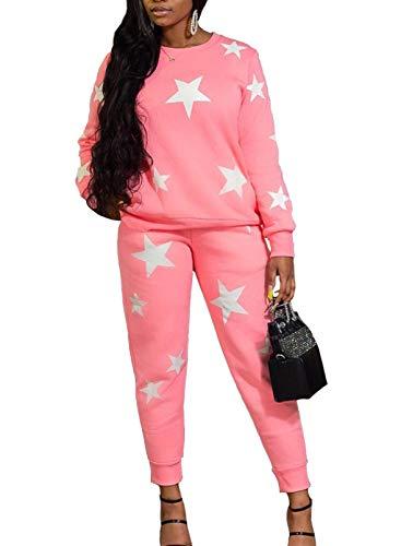 FOBEXISS Chándal para mujer con estampado de estrellas, ropa de salón de 2 piezas, manga larga, cuello redondo, blusa y pantalones rectos con bolsillo de pierna recta, conjuntos ajustados
