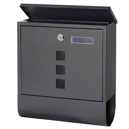 Wall Mounted Mailboxes with Key Lock, Medium Capacity Mailbox, Black, 3 3/5