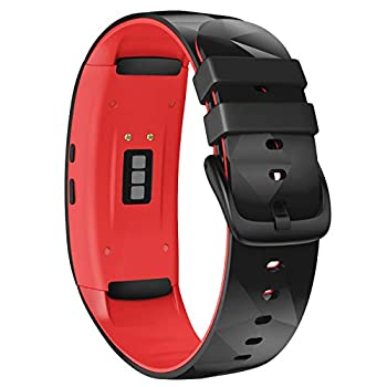 NotoCity Compatible with Samsung Gear Fit2 Pro Bands Replacement silicone band for Samsung Gear Fit2/Gear Fit 2 Pro Smartwatch Black-Red Small