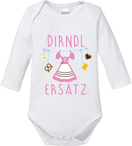 EZYshirt® Oktoberfest Dirndl Ersatz Body Baby Langarm Bio Baumwolle