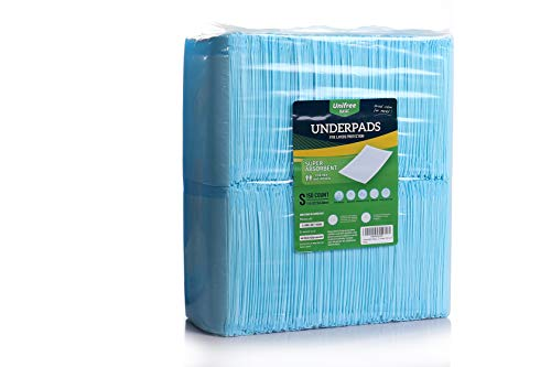 Unifree Disposable Underpads, Bed Pads, Incontinence Pad, Super Absorbent, 150 Count, Blue (S 17.5x23.5 Inch)