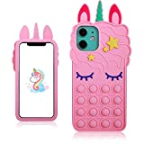 oqpa for iPhone 12 Pro Max Case Cartoon Kawaii Funny Cute Fun Silicone Design Cover for Girls Kids Boys Teen,Fashion Unique Fidget Cases Aesthetic Bubble Unicorn(for iPhone 12 Pro Max 6.7')