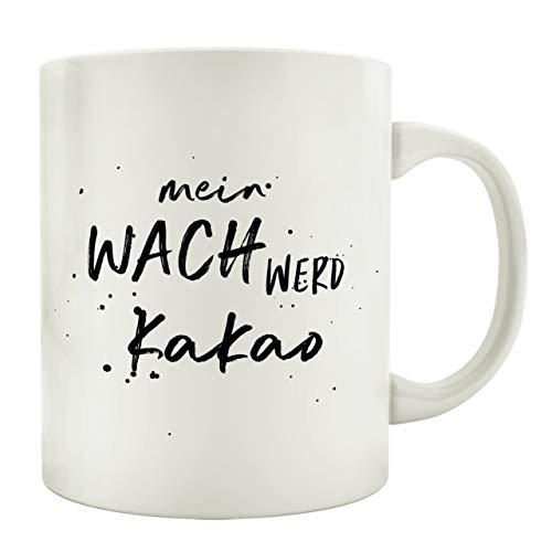 Interluxe Tasse Kaffeebecher WACH WERD KAKAO Geschenk Spruch Motiv Arbeit Büro Lustig