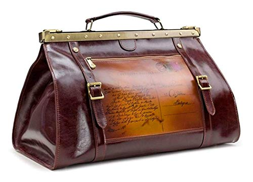 PATRICIA NASH UNISEX DISCOVERY SIGNATURE COLLECTION CHABLIS POSTCARD LEATHER LARGE DUFFLE TRAVEL BAG W/DOCTOR'S BAG OPENING