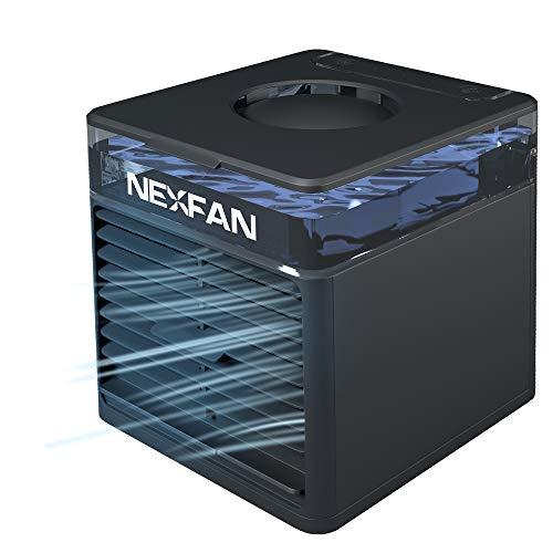 NEXFAN Mobile Klimaanlage mit UV-Lampe 4 in 1 Tragbarer Verdunstungsraumkühler mit 7 Farben LED-Luftbefeuchter für Zuhause, Schlafzimmer, Büro, Außenbereich (schwarz)