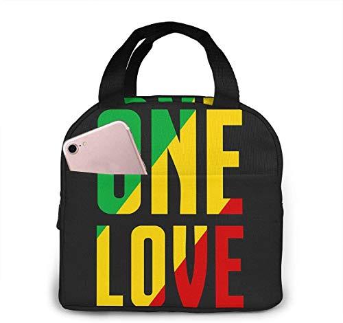 Rasta One Love Art Bolsa de almuerzo de moda con aislamiento térmico resistente al agua con bolsillo para oficina / escuela / exterior-Negro-Talla única