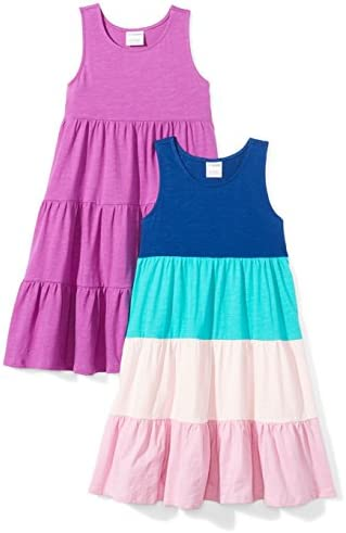 Spotted Zebra Girls Kids Knit Sleeveless Tiered Dresses 2 Pack Purple Blue X Small product image