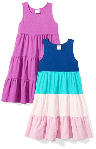Spotted Zebra Girls' Knit Sleeveless Tiered Dresses, 2-Pack Purple/Blue, Small