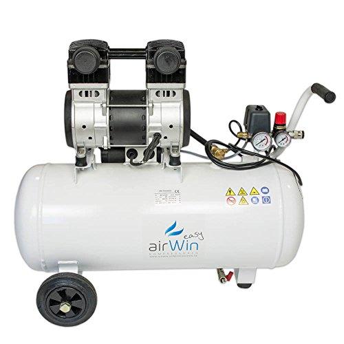 Airwin Leiselauf Druckluft Kompressor ölfrei 1,5 kW/230 V, 8 bar, 50 l Liter Kessel, 200 l/min Ansaugleistung