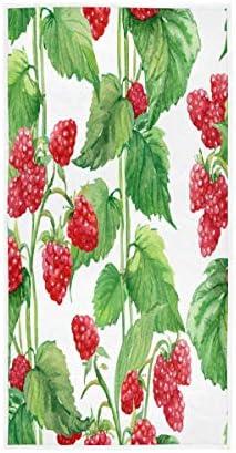 F17 Handdoek Raspberry Fruit Bladeren Blad 30 X 15 inch Handdoek voor Thuis Keuken Badkamer Gym Swim Spa