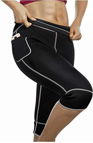 Gotoly Pantaloni Sauna Pantaloni di Perdita di Peso Neoprene Termico Pantaloni Hot Thermo Sudore Shaper della Coscia di Controllo Addominale per Fitness (Nero, 3XL)