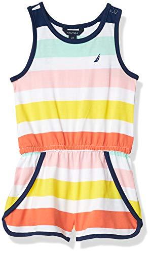 Nautica Girls' Striped Romper, Colorblock Candy Pink, 5