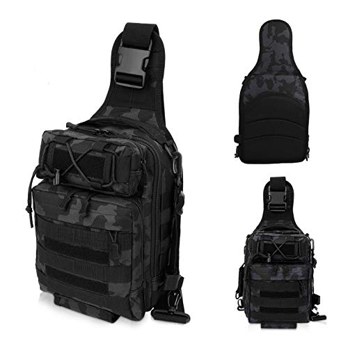 LUXHMOX Fishing-Backpack for Outdoor Gear Storage Tackle-Bag 5.25x12x9 Waterproof Sling Bag (Black CAMO)